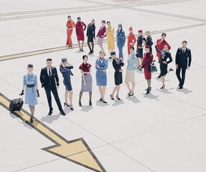 plane, stewardess, and soon to be image