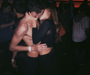 couple, kiss, and night image