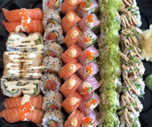 sushi, delicious, and food image