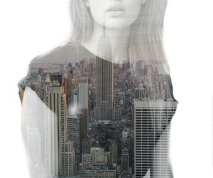 city, double exposure, and gracey image