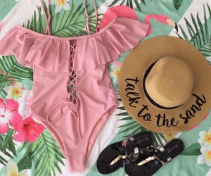 fashion, bath suit, and pink image