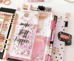 notebook, planner, and pink image