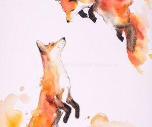 fox, art, and watercolor image