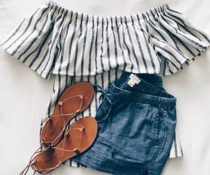 clothes, sandals, and shorts image