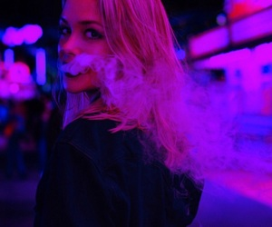 girl, smoke, and purple image