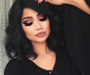 black, brown, and eyelashes image
