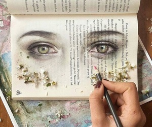 book, eyes, and art image