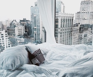 bed, view, and city image