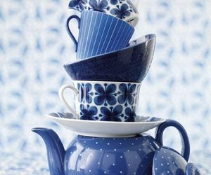 blue, cup, and tea image