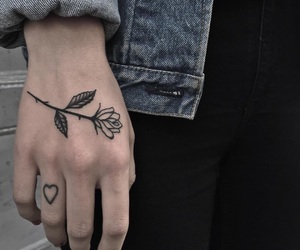 flower, heart, and tattoo image