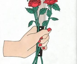 rose, art, and knife image