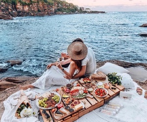 couple, sea, and food image