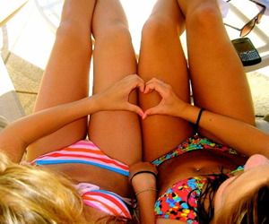 beach, brunettes, and chicks image