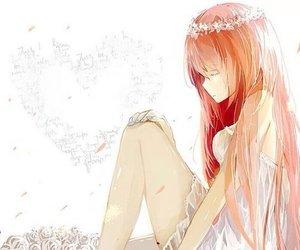anime, flower, and orange hair image