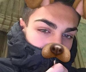 boy, dog, and eyes image
