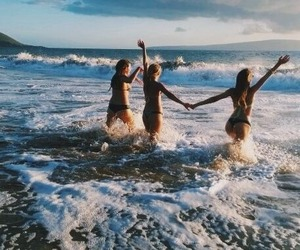beach, summertime, and girls image