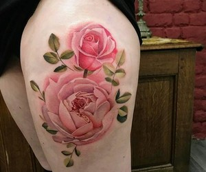 flower, inked, and peony image