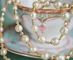 beautiful, pearls, and tea cup image