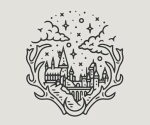 draw, castles, and harry potter image