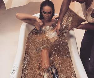 bath, glitter, and gold image