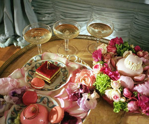 cake, champagne, and flowers image