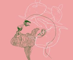 art, man, and pink image