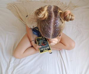 blonde, book, and buns image