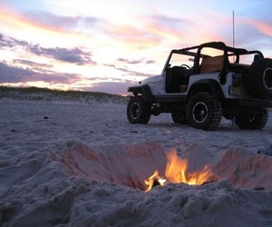 beach, fire, and jeep image
