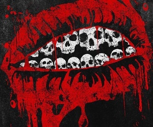 skull, blood, and lips image