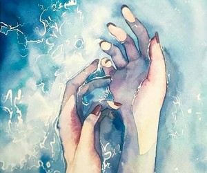 art, water, and hands image
