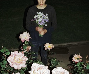 boy, grunge, and flowers image