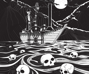 boat, ferry, and skulls image