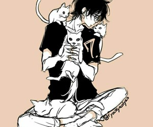 anime, boy, and cats image