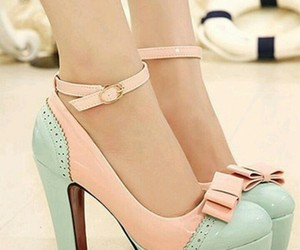high heels, pale green, and cute pink image