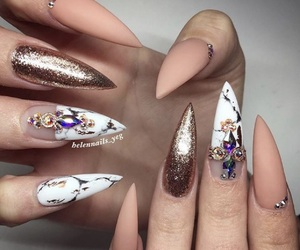 nails, marble, and Nude image