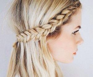 hair, hairdo, and dutch braid image