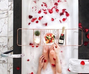 bath, champagne, and rose image