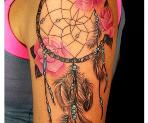 tattoo, rose, and dreamcatcher image