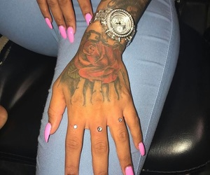 nails, tattoo, and watch image