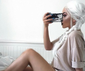 beauty, model, and white image