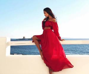 dress, red, and beach image