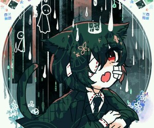 anime, lluvia, and cat image