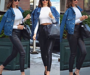 jean jacket, outfit ideas, and leather pants image
