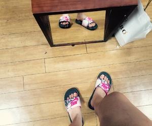 feet, nike, and flip flops image