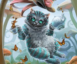 cat, alice in wonderland, and alice image