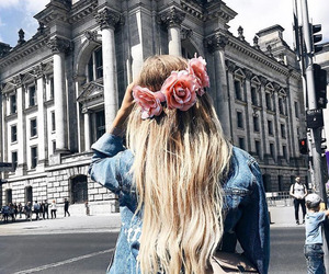 blond hair, city, and flower image
