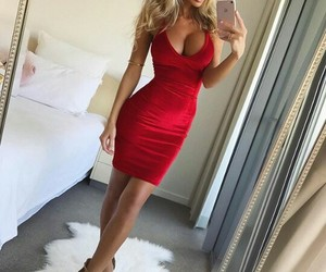 blonde, dress, and red image
