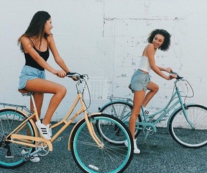 summer, girl, and bike image