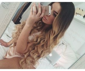 blonde hair, curls, and girl image