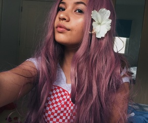 cool hair, flowers, and purple image